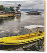 Yellow Tour Boat Wood Print