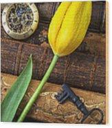 Yellow Tulip On Old Books Wood Print