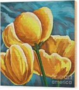 Yellow Tulips On Blue Wood Print