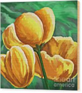 Yellow Tulips On Green Wood Print