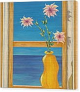Yellow Vase With Sea View Wood Print