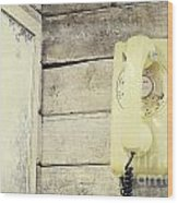 Yellow Vintage Telephone Wood Print