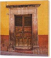 Yellow Wall Wooden Door Wood Print