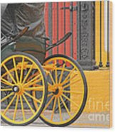 Yellow Wheeled Carriage In Seville Wood Print