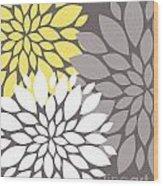 Yellow White Grey Peony Flowers Wood Print