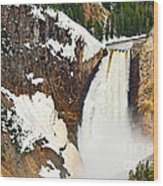 Yellowstone Falls From Lookout Point. Wood Print