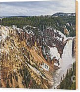 Yellowstone Falls Panorama Wood Print