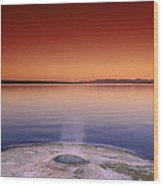 Yellowstone Lake And Geyser Wood Print