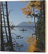 Yellowstone Lake At Dusk Wood Print