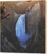 Yellowstone Lower Falls At Sunset Wood Print
