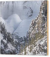 Yellowstone -  Lower Falls In Winter Wood Print