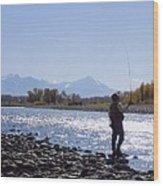 Yellowstone River Fly Fishing Wood Print
