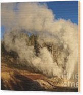 Yellowstone Riverside Eruption Wood Print