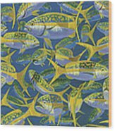 Yellowtail Frenzy In0023 Wood Print