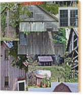 Yesterday Barns Collage Wood Print