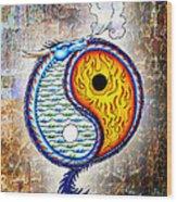 Yin And Yang Textured Wood Print