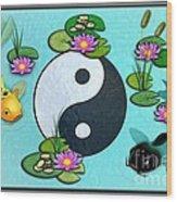 Yin Yang Koi Pond Scenery Wood Print