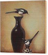 Yin Yang - Magpies  Wood Print by Lori  McNee