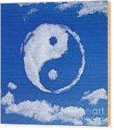 Yin-yang Symbol Made Of Clouds Wood Print