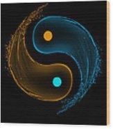 Yin Yang Water Splash Symbol  Wood Print