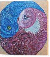 Ying Yang Owls Wood Print