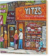 Yitzs Deli Toronto Restaurants Cafe Scenes Paintings Of Toronto Landmark City Scenes Carole Spandau  Wood Print