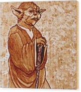 Yoda Wisdom Original Coffee Painting Wood Print
