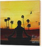 Yoga At Sunrise Wood Print by Bedros Awak