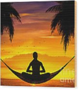 Yoga At Sunset Wood Print
