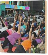 Yoga In Times Square Wood Print
