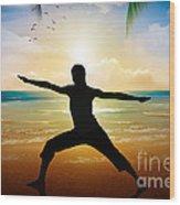 Yoga On Beach Wood Print