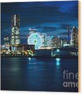 Yokohama Minatomirai At Night Wood Print