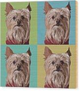 Yorkie Times Four Wood Print