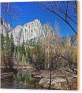 Yosemite Falls Along The Merced River Wood Print