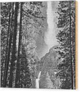 Yosemite Falls Black And White Wood Print