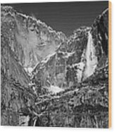 Yosemite Falls In Black And White II Wood Print by Bill Gallagher