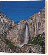 Yosemite Falls Moonbow Wood Print
