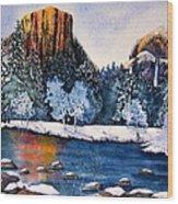 Yosemite In Winter I Wood Print