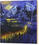 Yosemite Valley At Night Wood Print