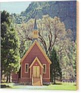 Yosemite Valley Chapel Lomo Wood Print