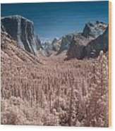Yosemite Vally In Infrared Wood Print