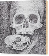 You Are What You Eat Skull Drawing Wood Print