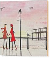 You Me And The Seagulls Wood Print