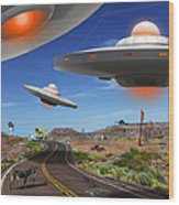You Never Know What You Will See On Route 66 2 Wood Print by Mike McGlothlen