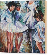 Young Ballerinas - Palette Knife Oil Painting On Canvas By Leonid Afremov Wood Print