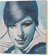 Young Barbra Streisand Wood Print