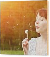Young Beautiful Woman Blowing A Dandelion In Spring Scenery Wood Print