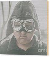 Young Boy Pilot. Battle Ready Wood Print