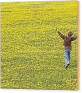 Young Boy Running Through Field Of Wood Print