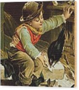 Young Boy With Birds In The Snow Wood Print